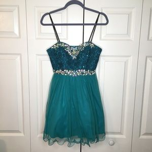 Masquerade jeweled turquoise prom/formal dress